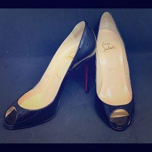 Louboutin black patent peep toe